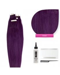 Tape In Extensions Echthaar Haarverlängerung, #violet 50cm