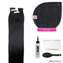 Tape In Echthaar Extensions Frontbild in der Farbe #01 Schwarz in den Haarlängen 35cm 45cm 50cm oder 60cm verfügbar, Haarverlängerung tapes mit Zubehör Bürste Remover und Klebestreifen