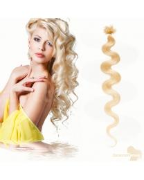 Bondings Keratin Echthaar Extensions #60 Weißblond gewellt 1g