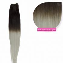 Ombre Echthaar Tressen - Weft Extensions #1b/grey Naturschwarz - Grau