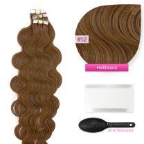 Tape In Extensions Echthaar Haarverlängerung gewellt #12 Hellbraun