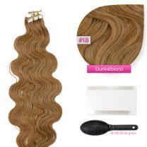 Tape In Extensions Echthaar Haarverlängerung gewellt #18 Dunkelblond