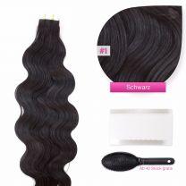 Tape In Extensions Echthaar Haarverlängerung gewellt 50 cm - 60 cm