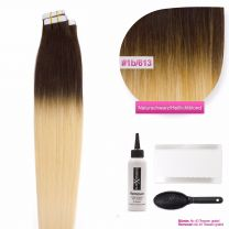 Tape In Extensions Echthaar Haarverlängerung # O-1b/613 Naturschwarz - Helllichtblond