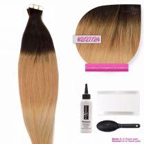 Tape In Extensions Echthaar Haarverlängerung # O-02/27/24 Dunkelbraun - Honigblond -Blond