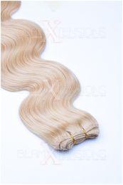 Echthaar Tressen - Weft Extensions gewellt 50 - 60 cm #24 Blond