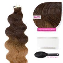 Tape In Extensions Echthaar Haarverlängerung gewellt #4/27 Schokobraun/Honigblond