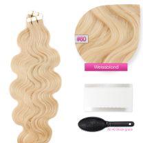 Tape In Extensions Echthaar Haarverlängerung, gewellt  #60 Weißblond