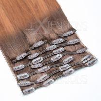 Clip In Extensions 100 Gramm glatt Remy Echthaar Farbnummer #1b/grau Ombre