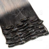 Clip In Extensions 100 Gramm glatt Remy Echthaar Farbnummer #1b/27 Ombre
