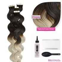 Tape In Extensions Echthaar Haarverlängerung gewellt #1b/grau