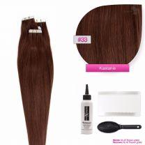 Tape In Extensions Echthaar Haarverlängerung #33 Kastanie 50cm