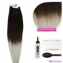 Tape In Extensions Echthaar Haarverlängerung # O-1b/grau Naturschwarz - Grau