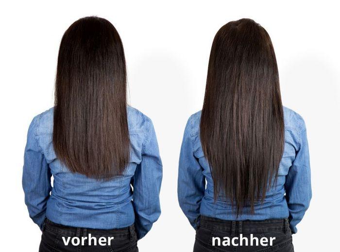 Haarverlangerung 30 cm vorher nachher