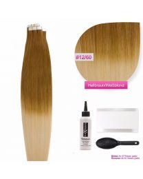 Tape In Extensions Echthaar Haarverlängerung # O-12/60 Hellbraun - Weißblond