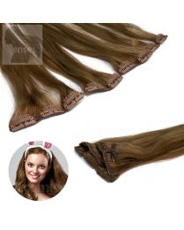 Clip In Extensions Echthaar 5-teilig #14/10 Mix Dunkelblond