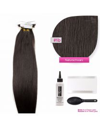 Tape In Extensions Echthaar Haarverlängerung #1b Naturschwarz