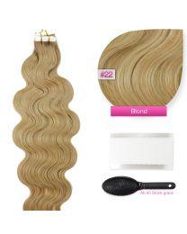 Tape In Extensions Echthaar Haarverlängerung gewellt #22 Blond