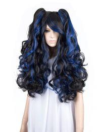 Cosplay Wig Perücke Schwarz Blau Locken