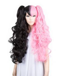 Cosplay Wig Perücke Schwarz Pink Locken