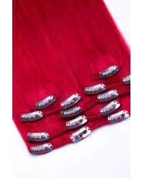 Clip In Extensions Echthaar 7-teilig 100g #red- Rot