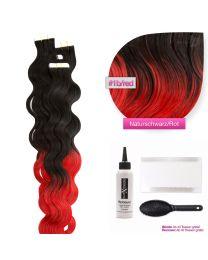 Tape In Extensions Echthaar Haarverlängerung gewellt  #1b/red
