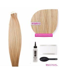 Tape In Extensions Echthaar Haarverlängerung #18/613 Dunkelblond - Helllichtblond