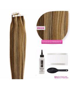 Tape In Extensions Echthaar Haarverlängerung #04/24 Schokobraun - Blond