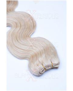 Echthaar Tressen - Weft Extensions gewellt 50 - 60 cm #60 Weißblond
