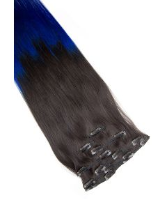 Clip In Extensions 7-teilig 55 cm # O-1b/blue - Naturschwarz - Blau