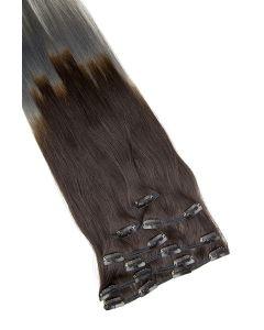 Clip In Extensions 7-teilig 55 cm #O-1b/dark grey - Naturschwarz - Dunkelgrau