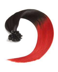 Bonding Keratin Extensions, 0,5g, #1b/red - Ombre Naturschwarz/Red