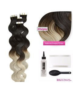 Tape On Extensions gewellt #1b/grau