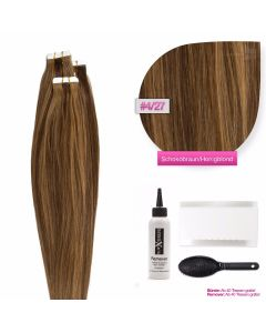 Tape On Extensions, #04/27 Schokobraun - Honigblond 50cm