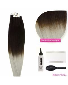 Tape On Extensions # O-1b/grau Naturschwarz - Grau