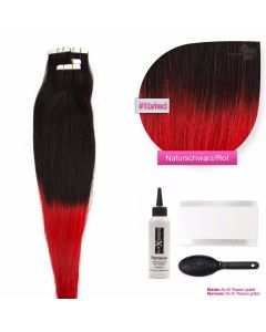 Tape On Extensions, # O-1b/red Naturschwarz - Rot 50cm