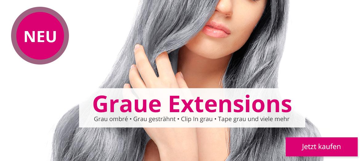 Graue Extensions Echthaar Promo 2
