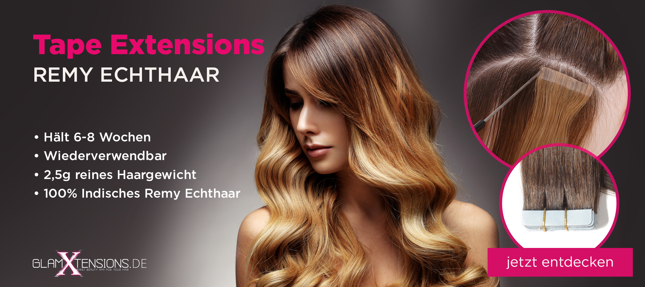Tape In On Echthaar Extensions von GlamXtensions