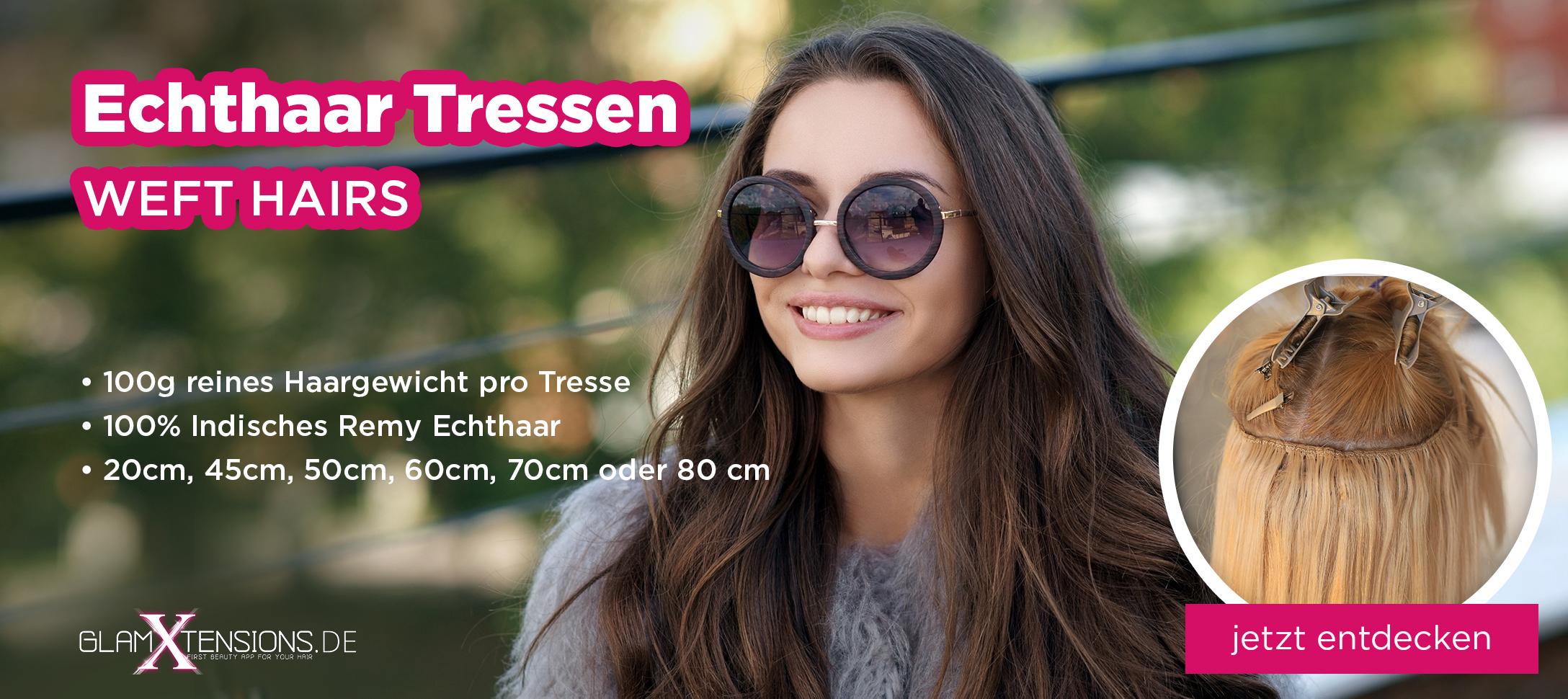 Echthaar Tressen Weft Hairs Extensions von GlamXtensions